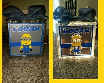 Personalized 8x8 Minions lighted glass block