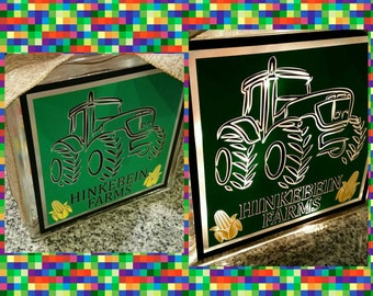 Personalized 8x8 tractor lighted glass block