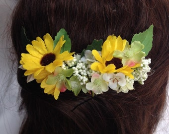 Handmade Sun Flower Hair Comb