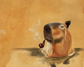 Cute classy capybara art // pigment print, archival, 5x7 8x10 11x14 // critter with pipe and monocle