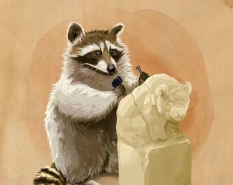 Raccoon Sculptor Art Print // pigment print, archival, 8x10 11x14 // raccoon sculpting a panda, gift for artists, gift for kids, silly art