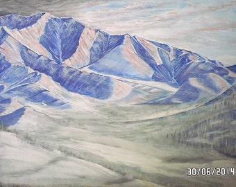 "Картина ""Гора Морджот"" / Painting ""Mountain Mordzhot""  - картон, гуашь, 30 х 40 см"