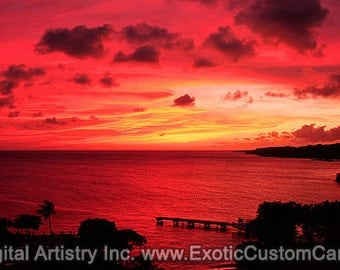Curacao Sunset Panoramic Custom Wall Canvas FREE SHIPPING!