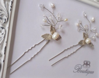 Bridal hairpin, fresh water pearls and leaves hairpin, silver hairpin, Bridal hair accessories, gold wedding accessories