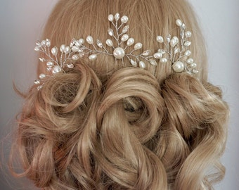 Bridal Hair pins, Bridal Hair Accessories, Swarovski Ivory White Pearls Rhinestone Bridal Headpieces, Wedding hair clip