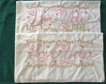 Embroidered pillowcases Love you love you more - beautiful
