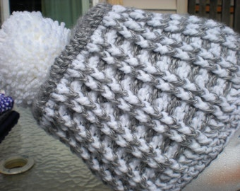 Beanie Hat - Grey & White w/ Pom