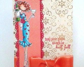 "Greeting card ""Optimist"",  colored stamp, alcohol markers, sparkling, foil paper"