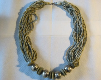 Decorative handmade necklace with clasp closure, made in 1965 in Germany, length ca. 60 cm