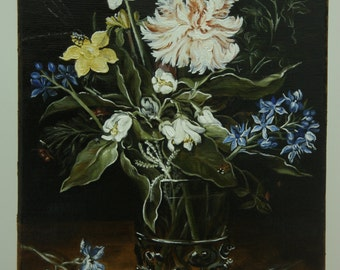 Flowers in a glass vase.