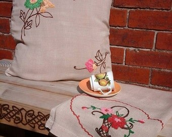 Embroidered table runner,vintage linens,embroidered cushion slip,vintage table runner,vintage throw,hand embroidery,vintage pillow slip,