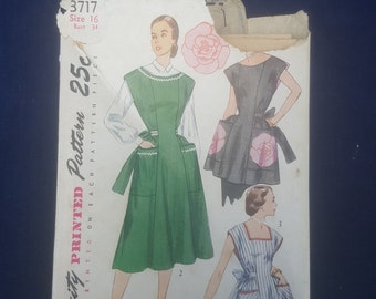 Simplicity 3717 vintage housedress and apron pattern