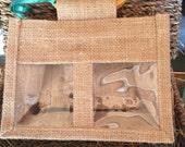 Jute Window Gift Bag, Gift Bag, Double Window, Wedding Favor Bag, Welcome Bag, Favors Bag, Fabric Gift Bag