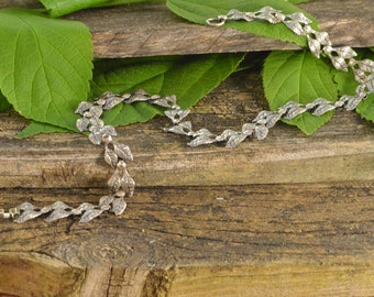 "Leaf Motif Necklace 15"" 14.1g Sterling Silver"