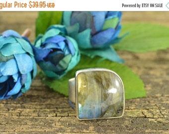 1 Day Sale Bezel Set Labradorite Ring Size 9.5 Sterling Silver 9.6g
