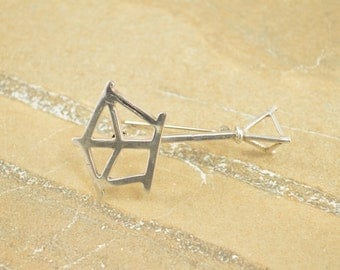 3D Music Stand Pin / Brooch Sterling Silver 8.7g Vintage Estate