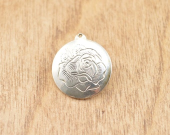 Rose Medallion Charm / Pendant Sterling Silver 2.5g Vintage Estate
