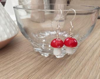 Toadstool earrings, woodland jewellery, red earrings, fairy jewellery, girls earrings, nature earrings, kitsch earrings, food jewellery