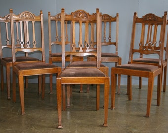 Chill Antiques, Set of 8 (2+6) Late Victorian / Edwardian Oak Arts and Crafts Style Dining Chairs