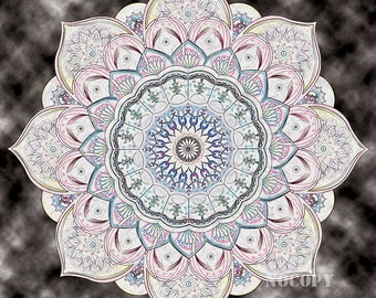 Sacred geometry mandala paint on canvas (paper available too) 12×12 *Psychedelic *Spiritual