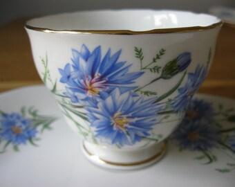 Royal Vale Fine Bone Cornflowers Teacups & Afternoon Tea Plates.