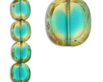 Teal swirl Czech glass bead strand (9 beads)
