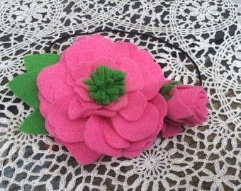 Hot pink flower felt headband