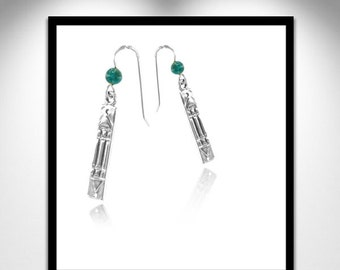 Atlantis earrings silver and stone _ earrings silver Atlante and pierre