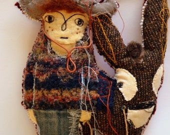 OOAK Fabric Art doll / Peter and Donky