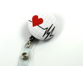 HEART BEAT Badge Reel, EKG Fabric Badge Reel, Button Retractable Badge Reel