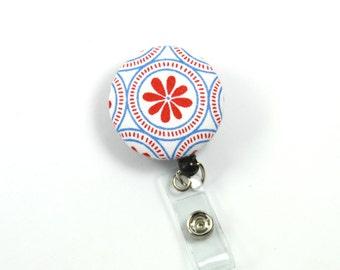 FLOWER Badge Reel, Retractable badge Holder, Flower Badge Reel, Stretchy Badge Reel