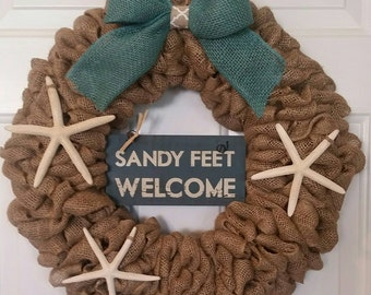 Burlap beach wreath with Sandy Feet Welcome sign and starfish