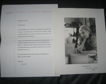 Beatrice Wood Autographed Photo and Letter 1994