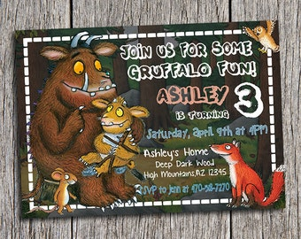 The Gruffalo Birthday Party Invitation - Digital Printable Personalized 5x7 The Gruffalo  Invite - DIY The Gruffalo Invitation