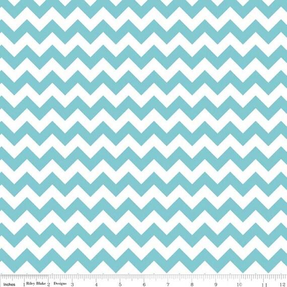 Aqua Chevron Cotton Fabric by Riley Blake Designs - Turquoise Zig ...