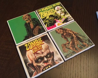 Vintage Zombie Movie Title theme Tile Coasters hand-made great gift for any zombie fans