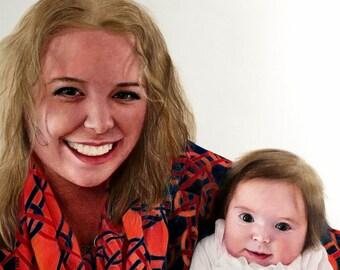 "9X12"", 10X15"",custom,hand-drawn,realistic,colored-pencil portraits of newborns,infants,babies and children/single portrait/double portraits"