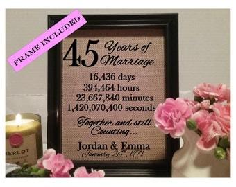 45 Years of marriage, 45th wedding anniversary, 45 years of marriage, 45 year anniversary gift, 45 years of marriage, gift 45th anniversary