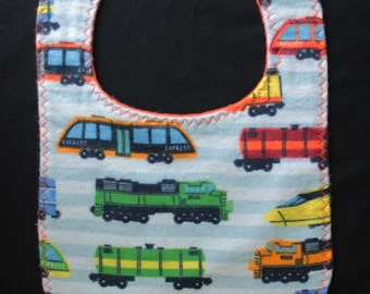 Trains Flannel reversible Bib baby gift layette baby shower mealtime essentials drool bib - Buy any FOUR Bibs - Get ONE free!