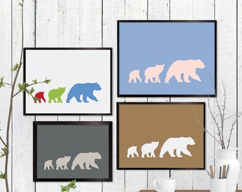 Three Bears Print, Woodland Wildlife Wall Art, Animal, Room Decor, Minimalist, Poster, Child Baby Nursery A3 A2 11x14 12x18 16x20