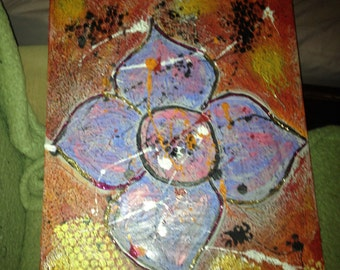 Mixed media, textured, abstract flower, on canvas