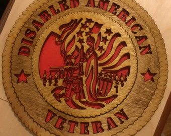 Wooden Disabled Veteran Wall Tribute - FREE SHIPPING
