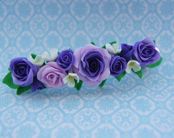 Hair barrette, floral barrette, purple flowers , roses