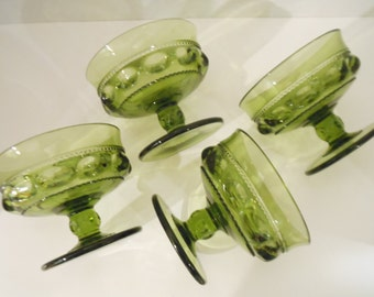 Vintage Kings Crown Green Thumbprint Green Glass Dessert Dishes/1950s