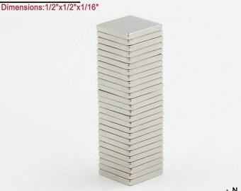 "25-Count Neodymium N45 NdFeb Block Magnets 1/2"" x 1/2"" x 1/16"" (Crafts Magnets - Scrabble Tile, Glass, Fridge); Free Shipping"