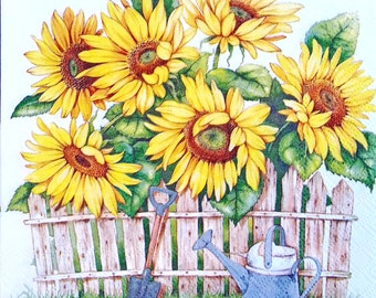 Decoupage SUNFLOWER napkins,Paper napkins for decoupage,collage,vintage napkin,scrap booking and paper craft project,decoupage supplies