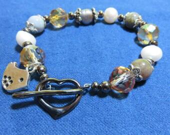 Pearl, Ocean Jasper, Crystal Beaded Bracelet