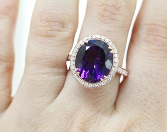 14K Rose Gold Vintage Style Oval Amethyst Ring, Diamond Halo Amethyst Ring, Rose Gold Jewelry