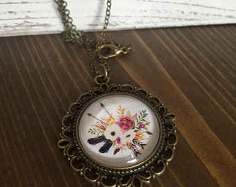 Floral Arrows Feathers Necklace Antique Brass