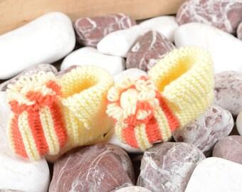 Baby Girl Booties Baby Girl Slippers Baby Shoes Handknitted Baby Slippers Knitted Slippers Fifty Percent Polyamide Fifty Percent Acrylic